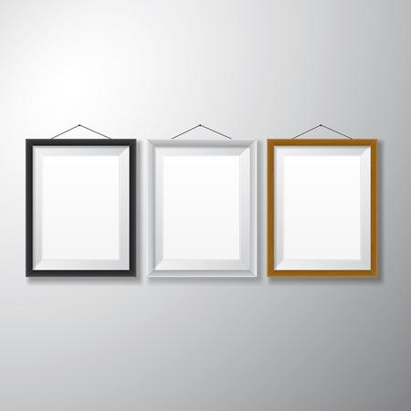 Verschiedene Arten von realistischen vertikale Bilderrahmen mit leeren Raum isoliert auf weißem Hintergrund für die Präsentation und präsentiert Zwecke Standard-Bild - 27529341