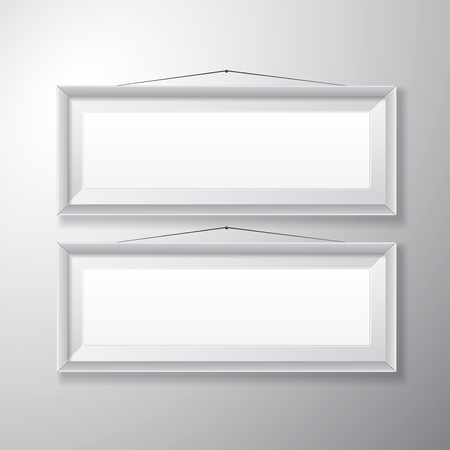 Realistic horizontal white picture frames with empty space isolated on white background for presentation and showcasing purposes  Vector