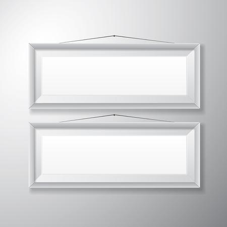 Realistische horizontale weiße Bilderrahmen mit leeren Raum isoliert auf weißem Hintergrund für die Präsentation und präsentiert Zwecke Standard-Bild - 27529342