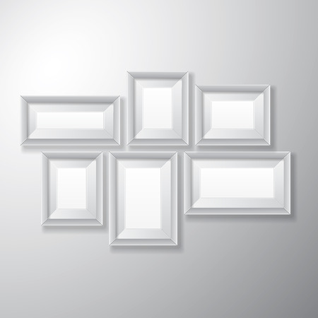 Variety sizes of realistic white picture frames with empty space isolated on white background for presentation and showcasing purposes  Illustration