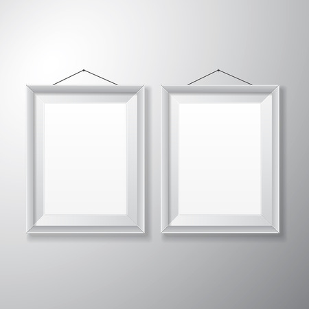 Realistic vertical white picture frames with empty space isolated on white background for presentation and showcasing purposes  Illustration