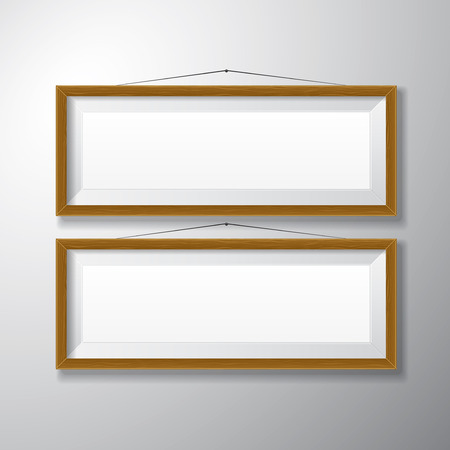 Realistic horizontal wooden picture frames with empty space isolated on white background for presentation and showcasing purposes