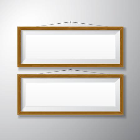 Realistische horizontalen hölzernen Bilderrahmen mit leeren Raum isoliert auf weißem Hintergrund für die Präsentation und präsentiert Zwecke Standard-Bild - 27529346