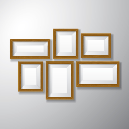 photo gallery: Variety sizes of realistic wooden picture frames with empty space isolated on white background for presentation and showcasing purposes  Illustration