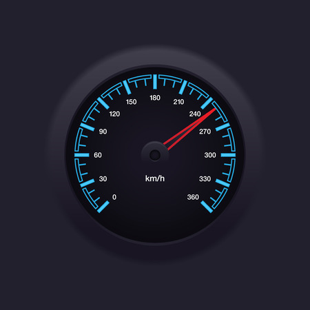 dashboard car: Realistic and detailed blue speedometer illustration in measurement of km h