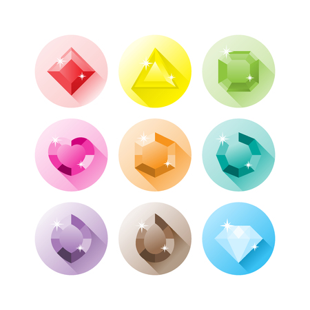 A set of flat precious gems icons in different shape and colours  Illustration