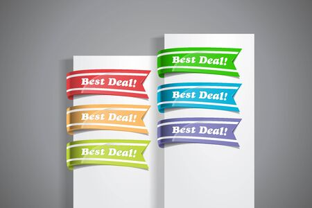 A set of colourful labels with Best Deal! wordings at the white paper corner Illustration