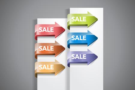 """Eine Reihe von bunten Pfeil-Etiketten mit """"Verkauf"""" Benennungen auf dem weißen Papier-Ecke Standard-Bild - 55161047"""