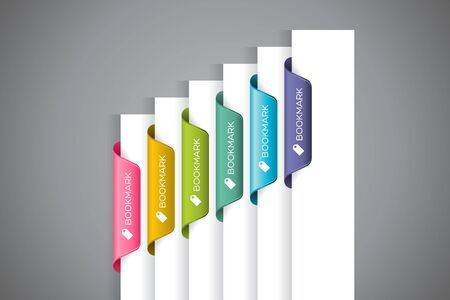 wordings: A set of colourful bookmarks with Bookmark wordings and icon at the white paper corner Illustration
