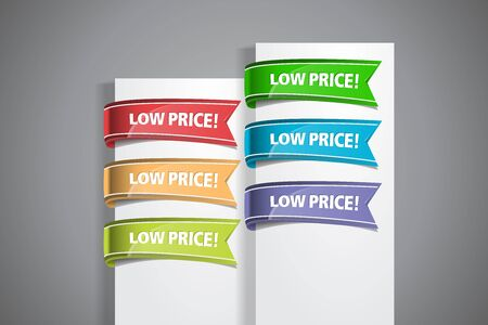 A set of colourful labels with Low Price! wordings at the white paper corner Illustration
