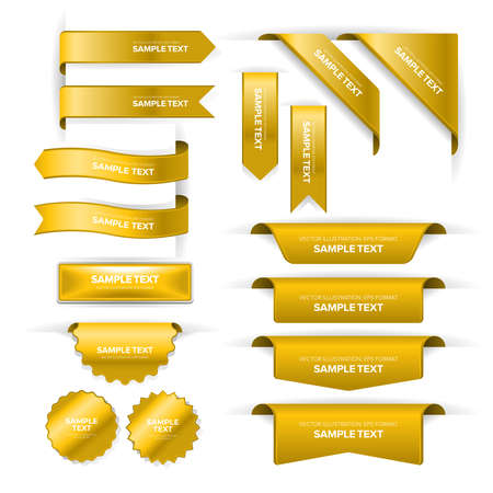 Set of bookmark labels, banners, ribbons, buttons, stickers and indicators placed at the edge of a page Stock Illustratie