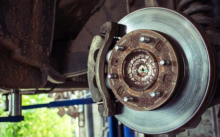 disc brack of car to repairs  in auto car service