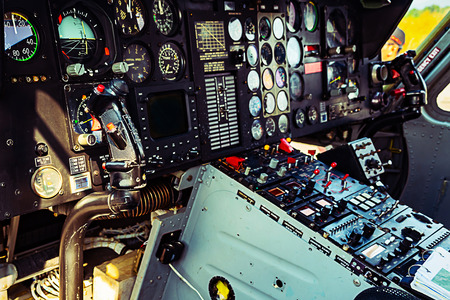 fly control panel system in helicopter cockpit Фото со стока