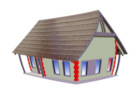 Colourful drawing little house, house Stock Photo