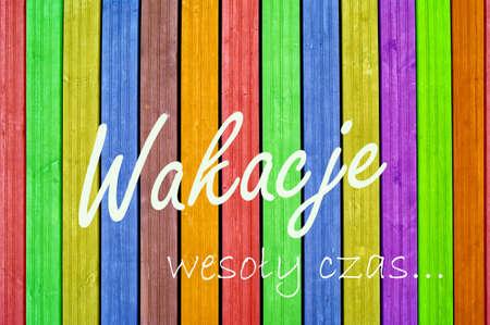 Inscription holidays on colourful background, colourful fence, colourful boards Reklamní fotografie - 15903648