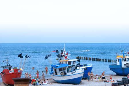 The fishing fishing boats on bank of sea  Kutry rybackie na brzegu morza