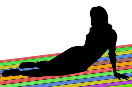 supported: Woman s figure sitting on the ground on colourful background