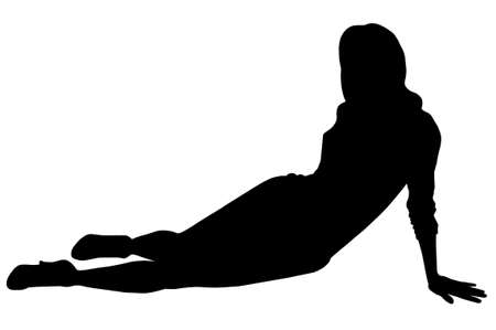 Woman s figure sitting on the ground photo