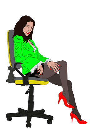 drawing woman on true office chair