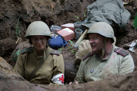 trenches: Russian sitting in trenches soldiers