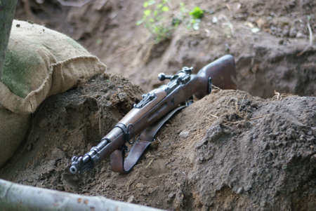 prisoner of war: Left in trench rifle