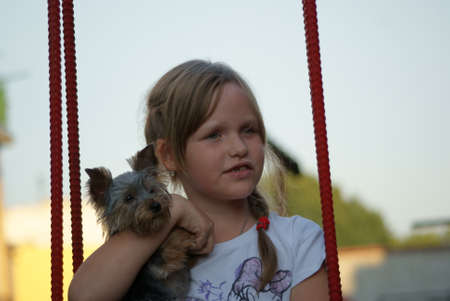 Young girl with a dog on a swing
