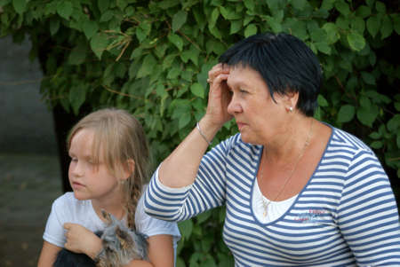 8 year old girl: 8 year old girl with her grandmother