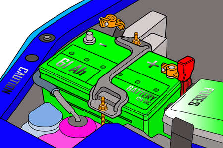 distilled water: Car battery is fully charged  Color version of figure  Stock Photo