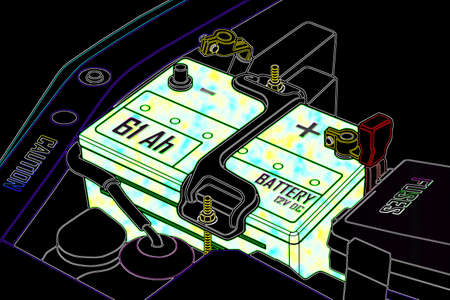 distilled water: La bater�a del coche est� completamente cargada agresivo Foto de archivo