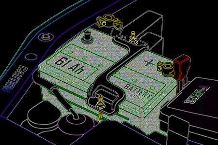 distilled water: La bater�a del coche est� completamente cargada Foto de archivo