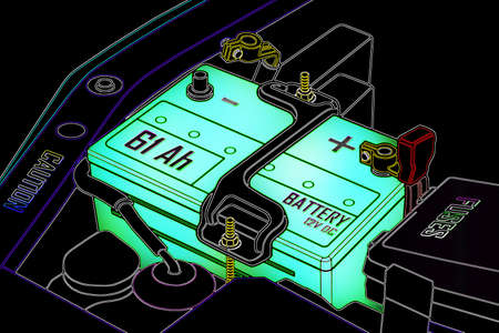 distilled water: Car battery full power  Stock Photo