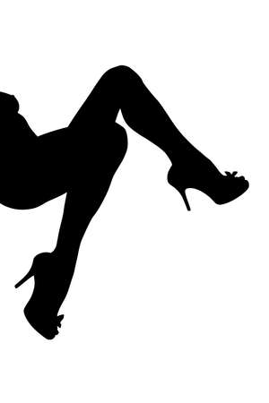 outline of women s legs in high heels shoes 2, white background