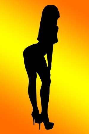 methyl: Outline silhouette of a woman on a black background orange gradient