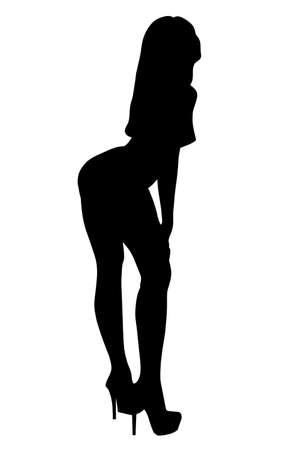 Outline silhouette black woman on a white   Stock Photo