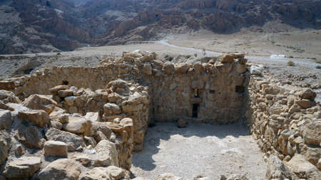 Ruins  Fortress Masada in Israel  Sand desert