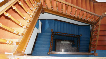 Old wooden staircase, stairway view from above