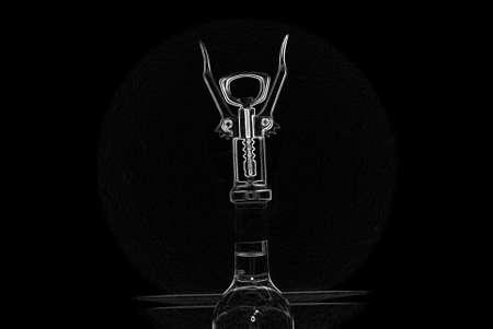Corkscrew wine opener  On a black background