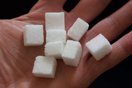 A few cubes of white sugar on hand