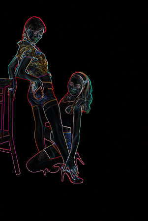 women s legs: Two young women, teens on a smooth background  Neon Glow