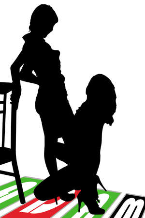women s legs: Black outline silhouettes of two women