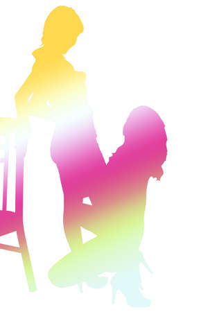 Rainbow colored silhouettes  Stock Photo
