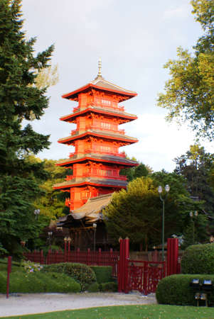 places of interest: Chinese buildings in Brussels, the pagoda. Stock Photo