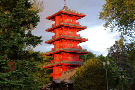 balustrades: Chinese buildings in Brussels, the pagoda. Stock Photo