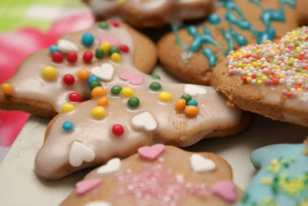 gingerbread cookies: Colorful Christmas gingerbread cookies. Close view. Tasty. Stock Photo