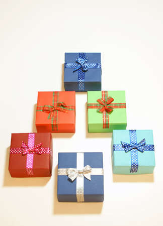 composition: Colorful boxes. Composition. Gifts. Stock Photo