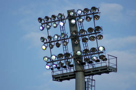 stage lighting: Lighting lamps stage. Speedway. Stock Photo