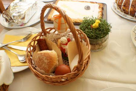 Easter. Basket. Food. Eggs. Christmas decoration.