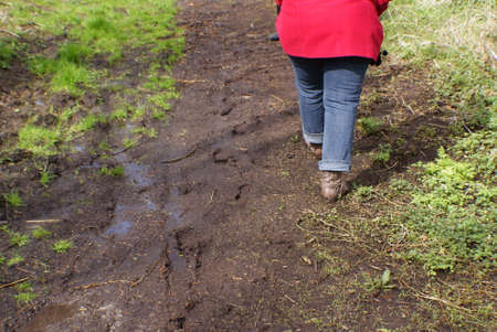 swampy: A woman going on wet swampy meadow.