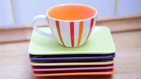Color tableware coffee.