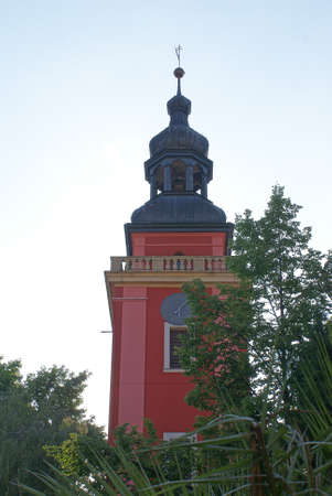 Pink clock tower. Stock Photo
